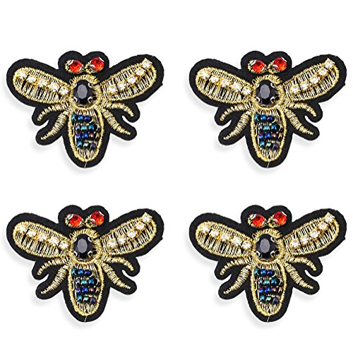 Bee Applique - 4Pcs Rhinestones Patches Sew on, Premium Sewing Rhinestone Appliques Beads Crystals Embroidery Patch DIY for Wedding Dresses, Shoes, Bags, Headpiece, Clothes, Garment Accessories (Bee 2)