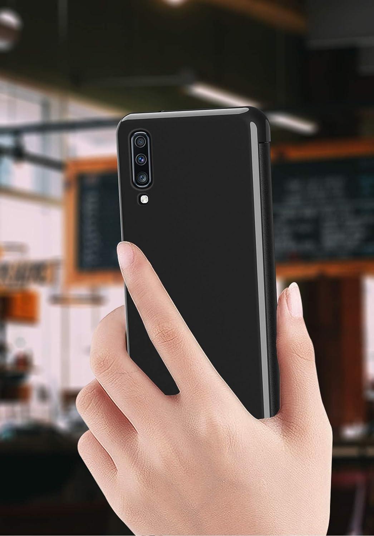 Nadoli Miroir Coque pour Galaxy A70,Luxe Ultra Mince Transparent Avant et Dur Arri/ère Fin Style de Livre Tout le Corps Protection Flip Housse Etui pour Samsung Galaxy A70