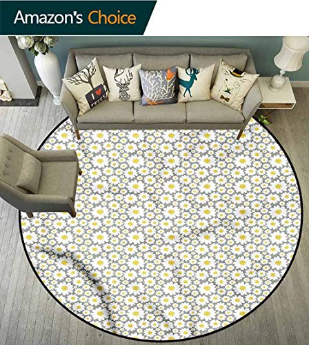 RUGSMAT Grey and Yellow Super Soft Circle Rugs for Girls,Blooming Daisies Design Non-Slip Fabric Round Rugs for Study Room Diameter-51