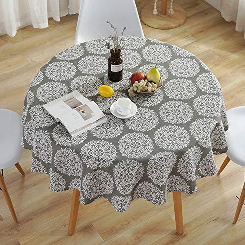 Amzali Washable Grey Medallion Tablecloth Cotton Linen Dust-