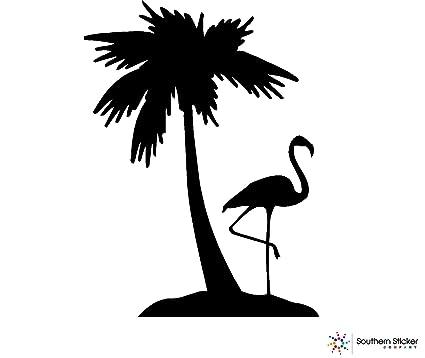 Amazon Com Southern Sticker Company Flamingo One Palm Tree 3 9x5 2