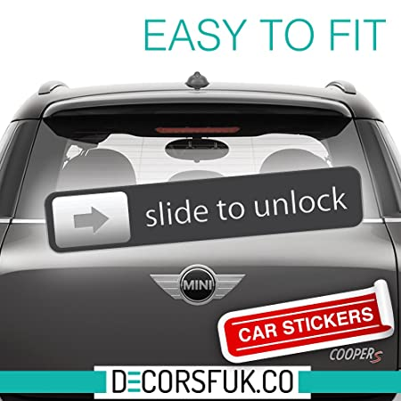 Slide to unlock funny car sticker decals for cars black vinyl best