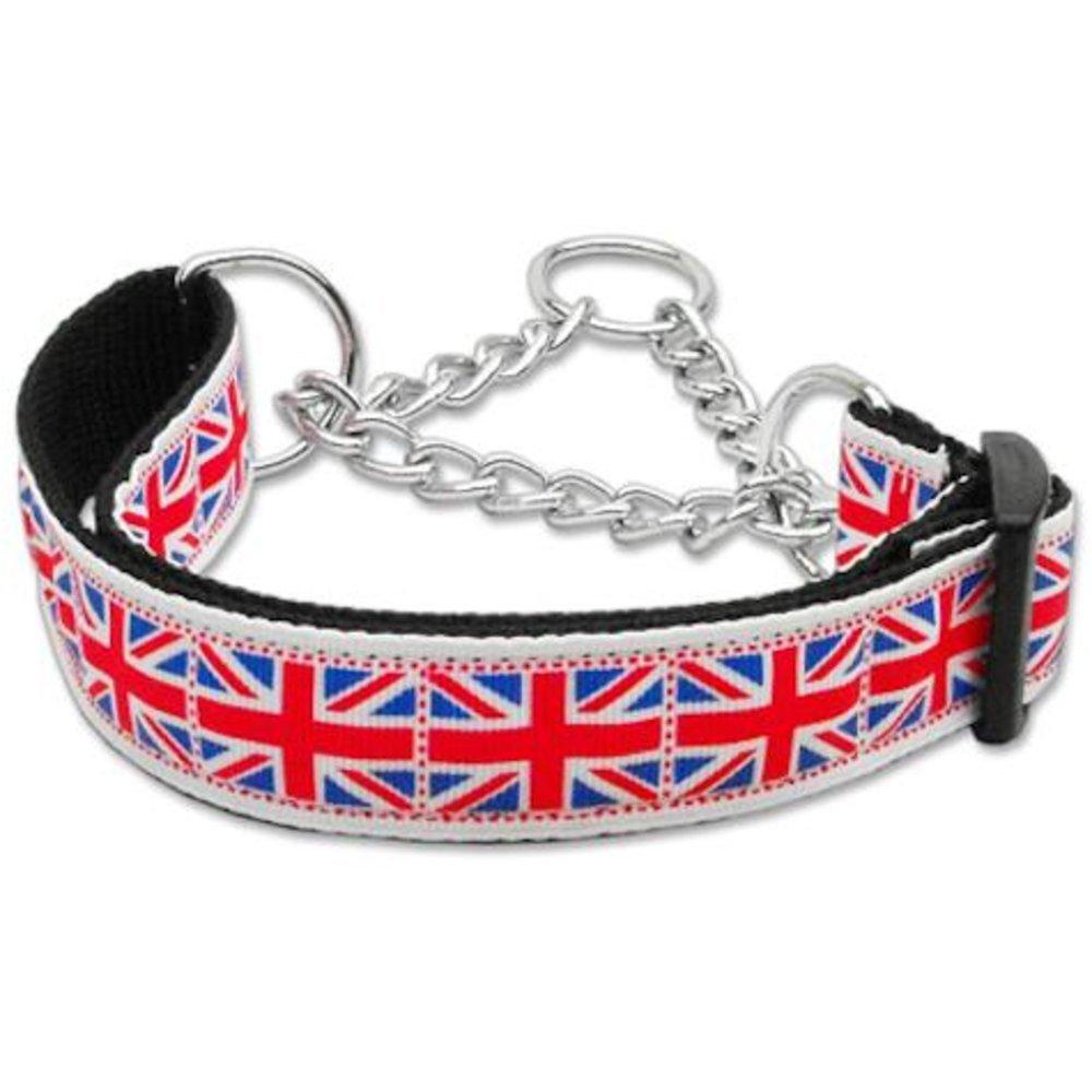 Mirage Pet Products Tiled Union Jack UK Flag Nylon Ribbon Collar Martingale for Pets, Medium