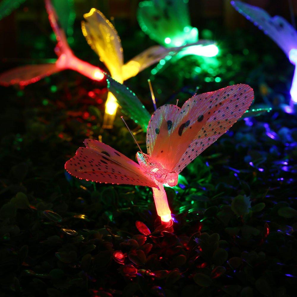 lederTEK 12 LED Solar Cadena de Luz de Navidad con Diseño de Mariposa de Fibra Óptica para Exterior, Patio, Jardín, Boda, Fiesta, Terraza, Navidad, Primavera, Verano, Otoño [Clase de eficiencia energética A++]