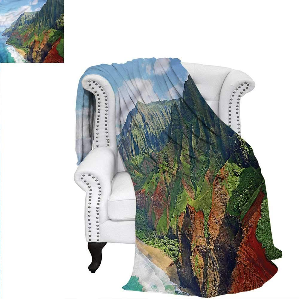 ALLMILL Hawaiian Travel Throw Blanket Na Pali Coast Kauai Sea Oversized Travel Throw Cover Blanket 80'x60'