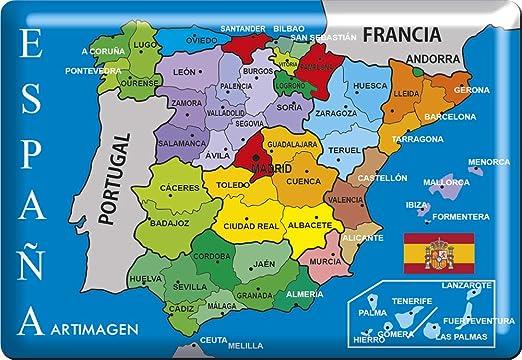 Artimagen Imán Mapa Provincias España 80x55 mm. Resina: Amazon.es: Hogar