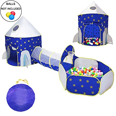 LOJETON 3pc Rocket Ship Kids Play Tent, Tunnel & Ball Pit with Basketball Hoop for Boys, Girls and Toddlers - Indoor/Outdoor Use Pop Up Rocket Tent: Toys & Games