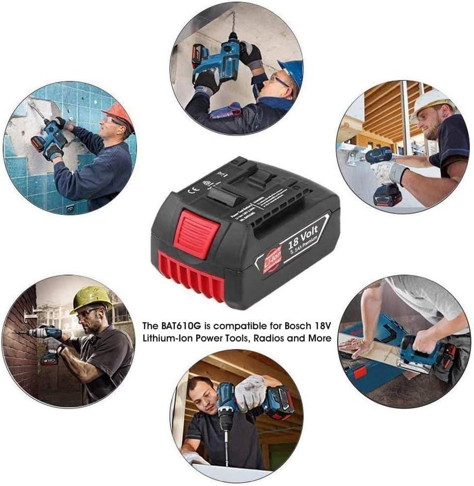 2X FUNMALL Reemplazo para Bosch GBA 18V 5.5Ah Li-ion Bater/ía BAT609 BAT609G BAT619 BAT621 BAT620 Taladro atornillador inal/ámbrico Capacidad extendida con Indicador LED