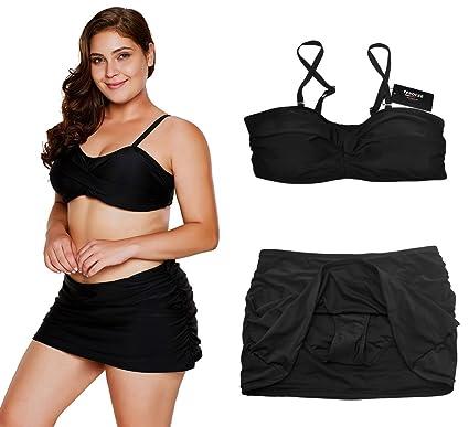 8b95f41d21 Amazon.com  TENOCEE Womens Plus Size Bandeau Bikini Two Piece Skirtini  Swimsuit L-XXXL  Clothing