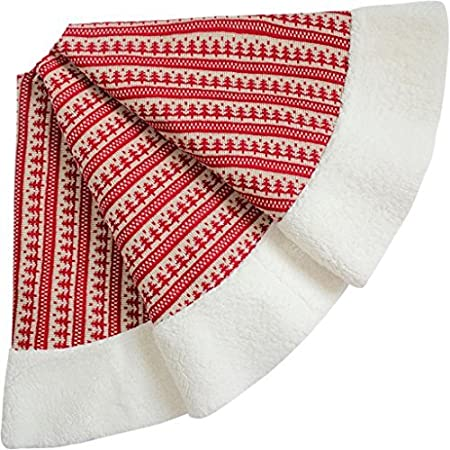 Sorrento Nordic Chunky Knitted Centre Sherpa Border High Quality Christmas Tree Skirt 90cm Red
