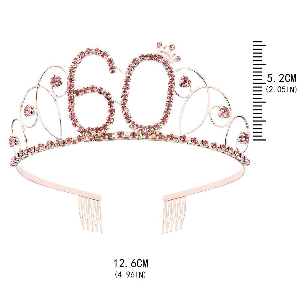Auidy_6TXD tiara de cristal rosa para cumpleaños, corona de ...