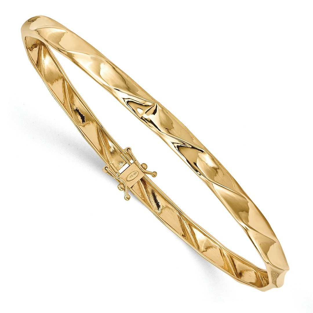ICE CARATS 14k Yellow Gold Twisted Bangle Bracelet Cuff Expandable Stackable Hinged Fine Jewelry Gift Set For Women Heart by ICE CARATS (Image #1)