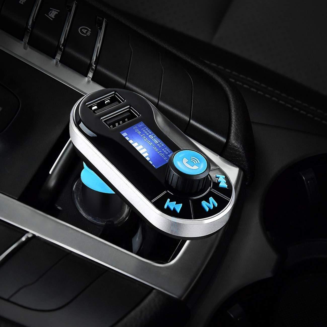 Favoto Transmetteur FM avec Micro Kit Bluetooth de Voiture Lecteur MP3 Sliver Appel Mains Libres Double USB Chargeur Allume-Cigare Haut-Parleur Slot AUX in et Micro SD Carte