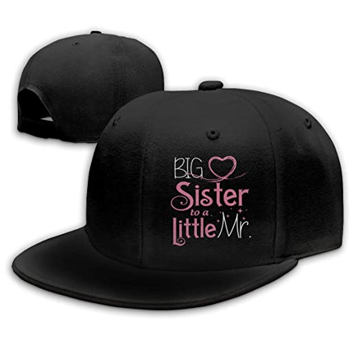 b3e043ad Image Unavailable. Image not available for. Color: Big Sister to A Little  Mr. Unisex Snapback Flat Bill Baseball Cap Adjustable Black