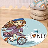 VROSELV Custom carpetKids Decor Cartoon Girl Image with French Hat and a Bike with Flowers Image for Bedroom Living Room Dorm Purple Grey and White Round 72 inches