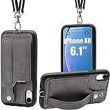 Toovren iphone xr ケース 手帳型 カード収納 ストラップ スタンド アイフォンケースxr カバー スマホケース 紛失/落下防止 滑り止め 多機種対応 グレー