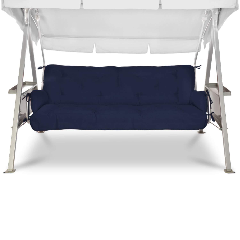 Beautissu Flair HS 180x50x8cm Colchón y Cojines para Columpio/Balancín Hollywood para Banco de jardín Azul Marino Elegir