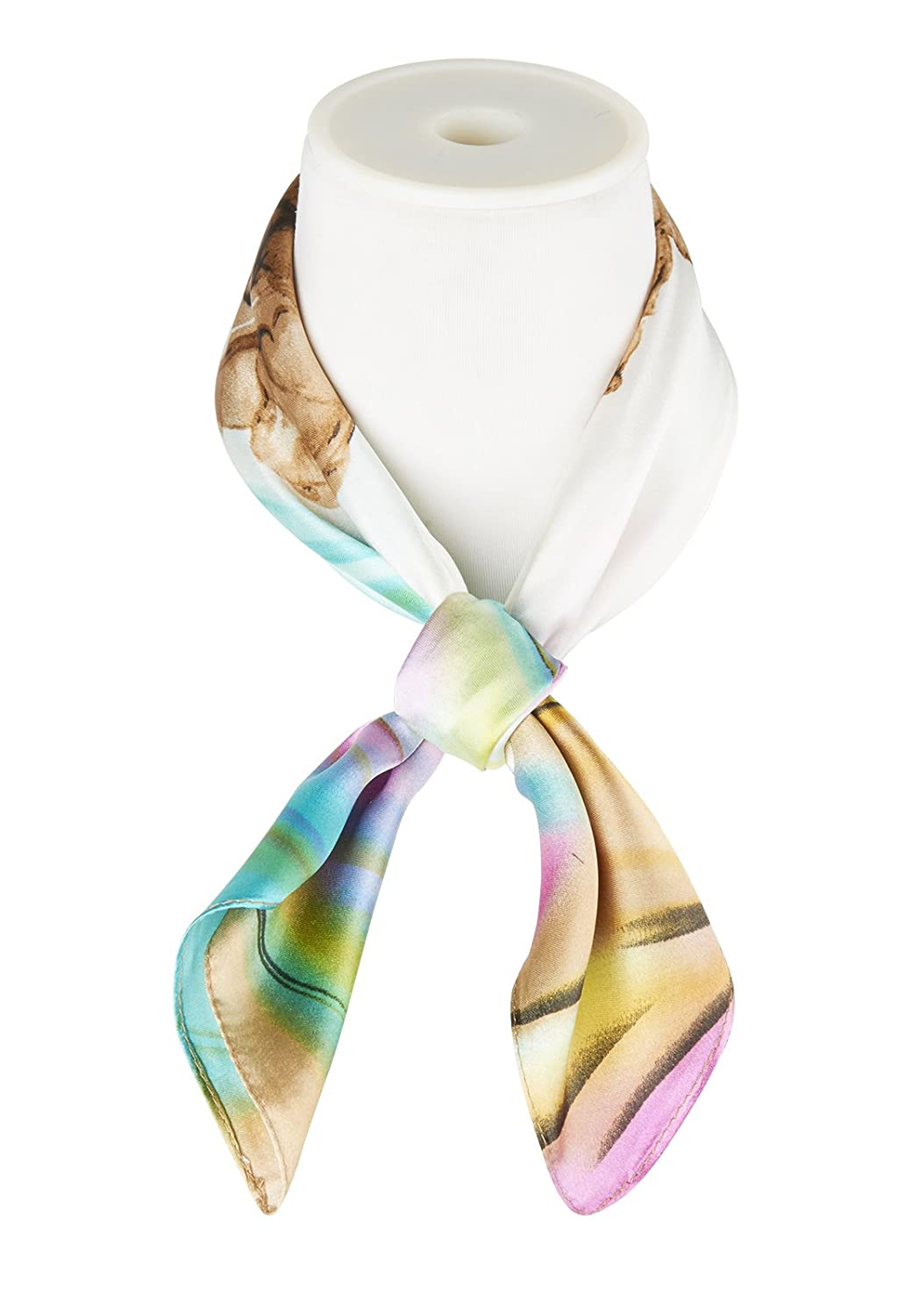 Scarf Muffler Square Satiny Flowery Patterned Smooth Breathable Girls