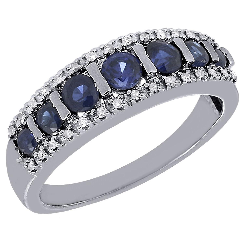 10K White Gold 0.86 Ct Blue Sapphire & 0.10 Ct Round Diamond Wedding Band Anniversary Ring 0.96 Cttw