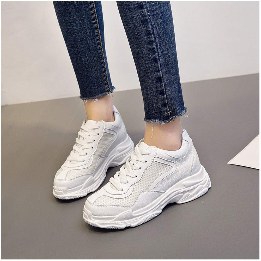 kakafashion Spring and Summer Female White Shoes Sports and Leisure Walking Shoes Thick-Soled Students Students Smooth//mesh EU35-40 EU35, White