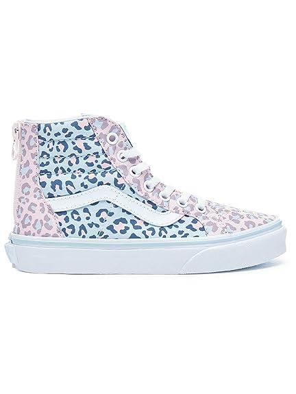 7a5daf3323dcbe Vans Kids (2-Tone Leopard) Sk8-Hi Zip Chalk Pink Baby Blue ...