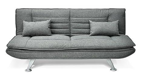 Samira Divano letto clic clac in tessuto grigio - divano 3 posti mod ...