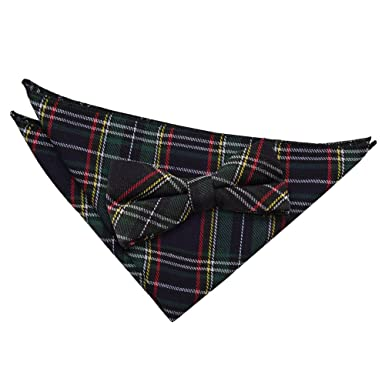 17c26db855482 DQT Premium Cotton Blend Scottish Tartan Black and Green with Thin Stripes  Men's Formal Casual Business Tuxedo Pre-Tied Bow Tie with Matching  Handkerchief ...