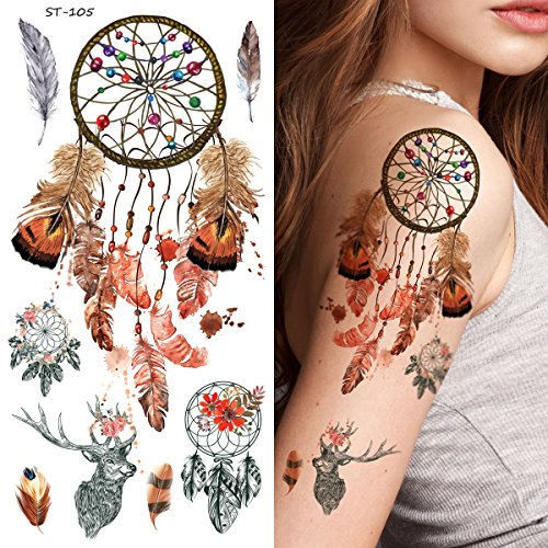 Supperb Temporary Tattoos - Dream Catcher Dreamcatcher Colorful Feather Bohemian Tattoo