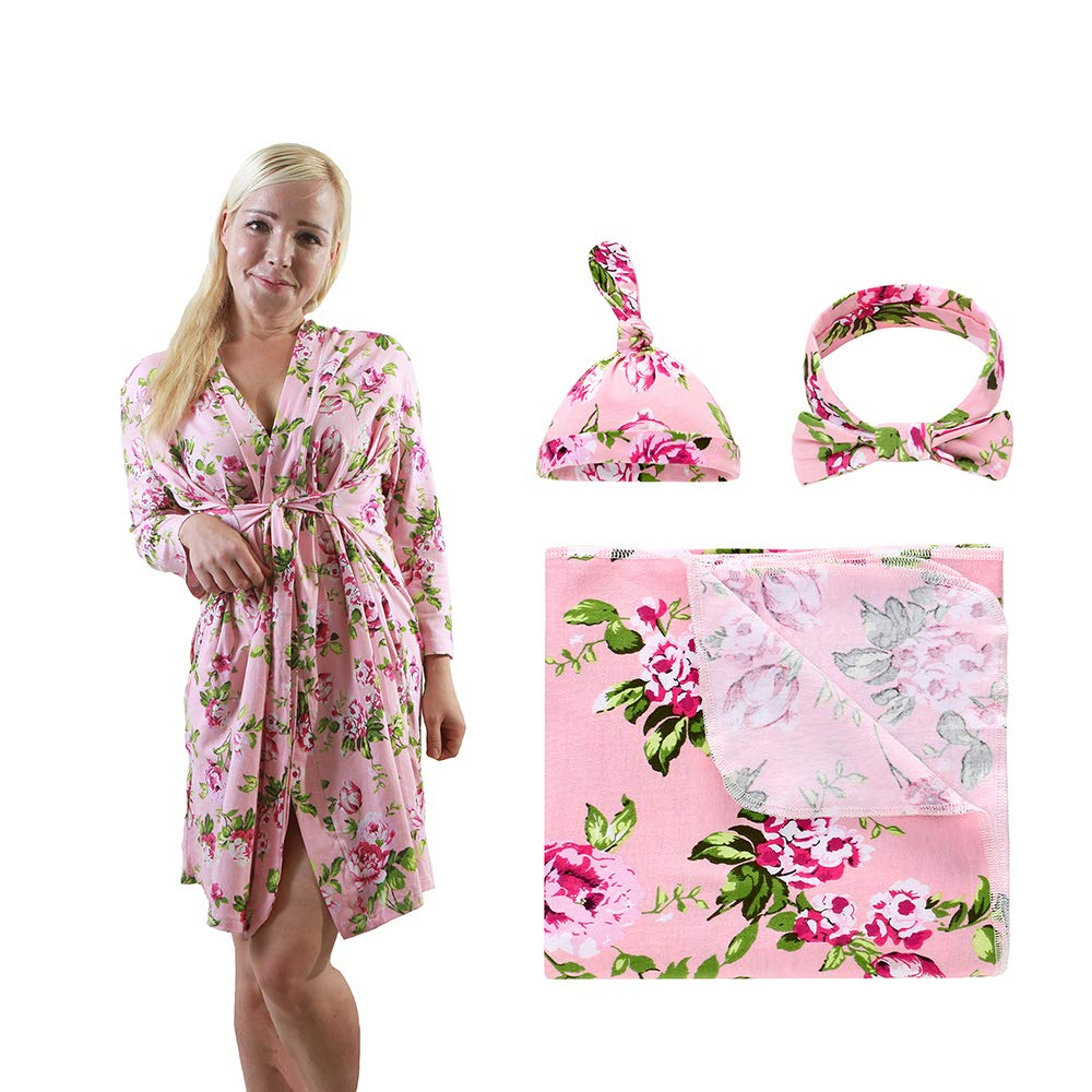 Maternity robe /& baby blanket in cute flamingo chevron design Baby shower gift Soft stretch cotton for ultimate comfort during pregnancy.