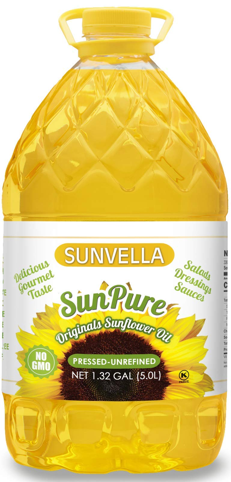 SUNVELLA SunPure Non-GMO Original Sunflower Oil, Pressed-Unrefined (Virgin) 1.32 GAL (5.0L) by SUNVELLA