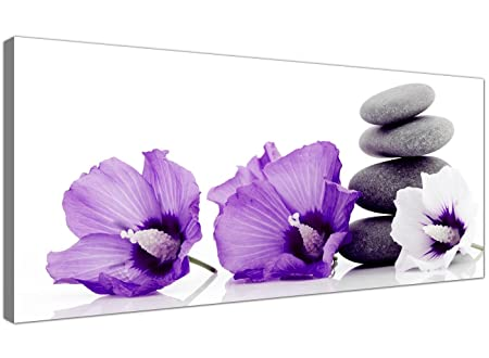 Cheap canvas prints of purple flowers and grey pebbles modern floral wall art 1071
