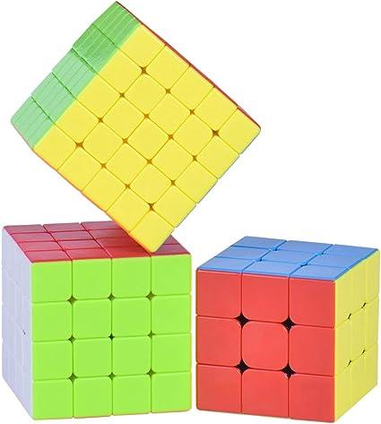 Assemble Rubiks Cube Combo 3 ( 3X3, 4X4, 5X5)), Stickerless Premium Cube Set , Magic Cube Puzzle Toys