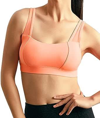 chouyatou Women's Breathable Mesh Splicing High Impact Full Support Running Workout Sports Bra