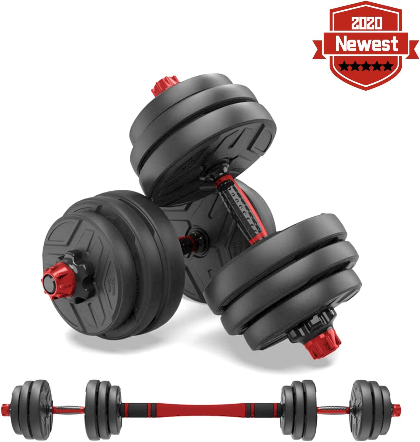 shanchar Adjustable Weights Dumbbells Set,Free Weights Dumbbells Set for Men and Women with Connecting Rod Can Be Used As Barbell for Home Gym Work Out Training 2Pair