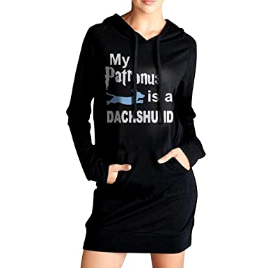 ADA/&KGH Womens Sports Fleece Long Hoodies Dress My Patronus is A Dachshund-1 Coat with Pockets