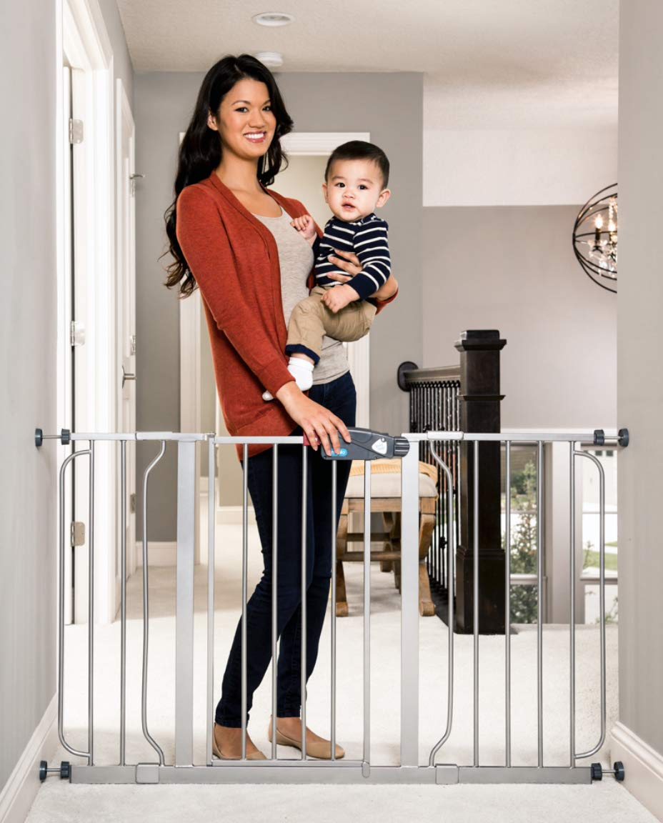 Regalo Easy Step 51-Inch Extra Wide Walk Thru Safety Gate, Platinum