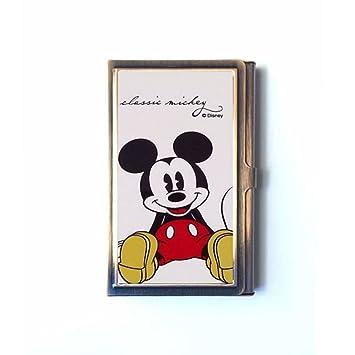Mickey Mouse tarjeta de crédito cartera - tarjeta de identificación de titulares - tarjeta caso-acero inoxidable bronce: Amazon.es: Oficina y papelería
