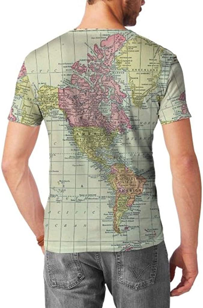 Shirt for Men F/_Gotal Mens T-Shirts Fashion Summer Short Sleeve World Map Printed Standard Fit Casual Blouse Tops