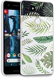 HELLO GIFTIFY HelloGiftify Green Leaves TPU Soft Gel Protective Case. Compatible with Google Pixel 2 XL