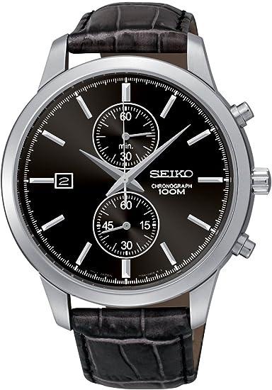 Seiko Chronograph SNN275P2 - Reloj cronógrafo de cuarzo para hombre, correa de cuero color negro