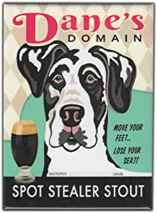 "Retro Pets Magnet, Dane's Domain Stout, Great Dane Dog (Harlequin, Black and White), Vintage Advertising Art, 2.5"" x 3.5"""
