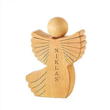 Schutzengel 7 cm aus Holz mit Namens Gravur Geburt Taufe Geburtstag Geschenk