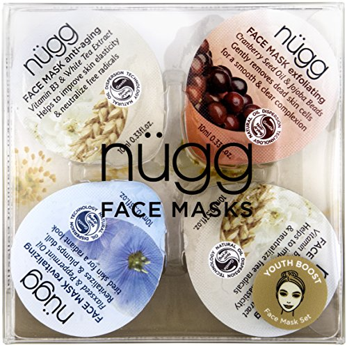 nügg 4 Day Youth Boost: Multi-Masking Face Mask Set with 4 Face Masks to Exfoliate, Hydrate and Nourish Aging Skin in just 4 Days; Over 90% Natural; For Aging, Matura and Normal Skin; 4 Pack