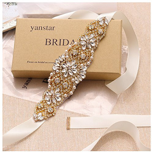 Gold Pearls Ivory Pearls - Yanstar Ivory Sash Crystal Applique Wedding Bridal Belts In Gold With Pearls Beaded On Wedding Prom Dress-7.7In2In