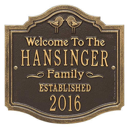 Whitehall Personalized Love Birds Custom Family Indoor/Outdoor Aluminum Wall Plaque - Bronze/Gold ()