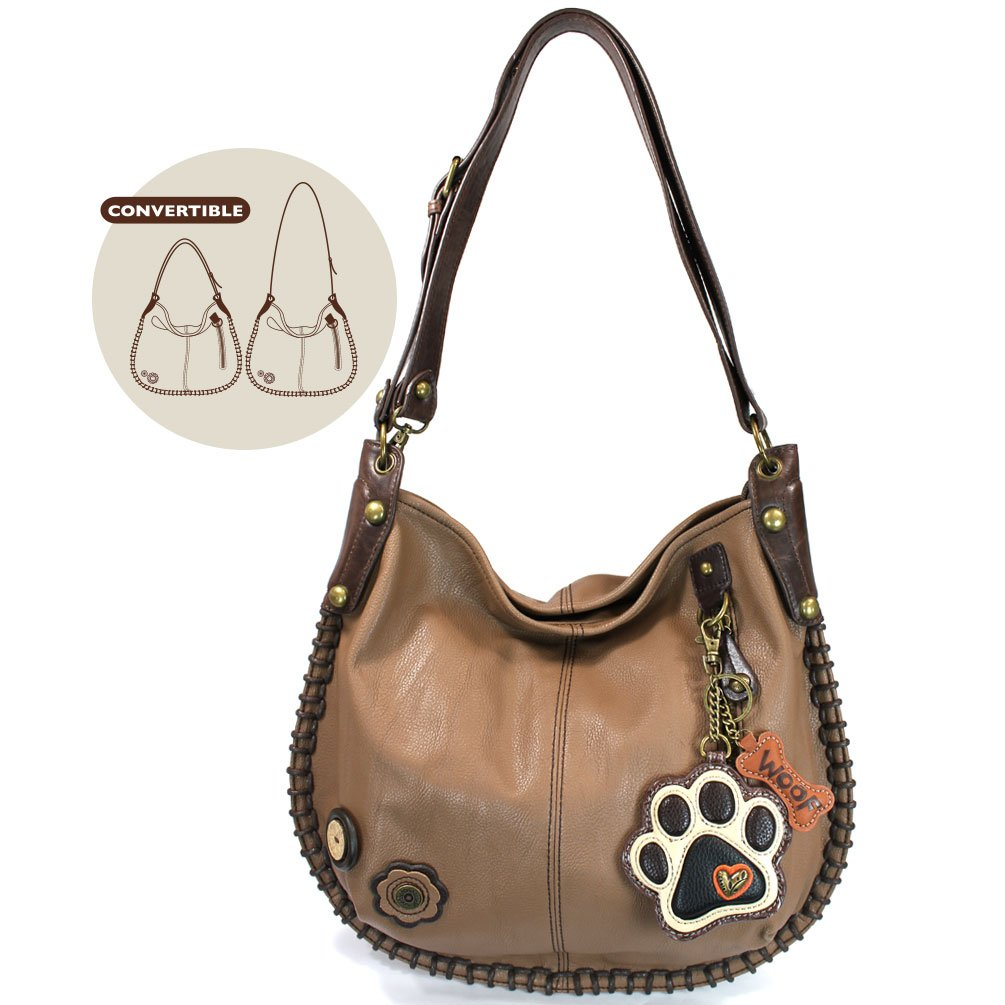 7eb856c5c687 CHALA Crossbody Handbag, Hobo Style, Casual, Soft, Large Bag Shoulder  Crossbody - Brown (Ivory Paw Print Brown)