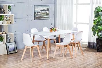 Miraculous Anton Wooden Beech Modern Rectangle Dining Table And 6 Inzonedesignstudio Interior Chair Design Inzonedesignstudiocom