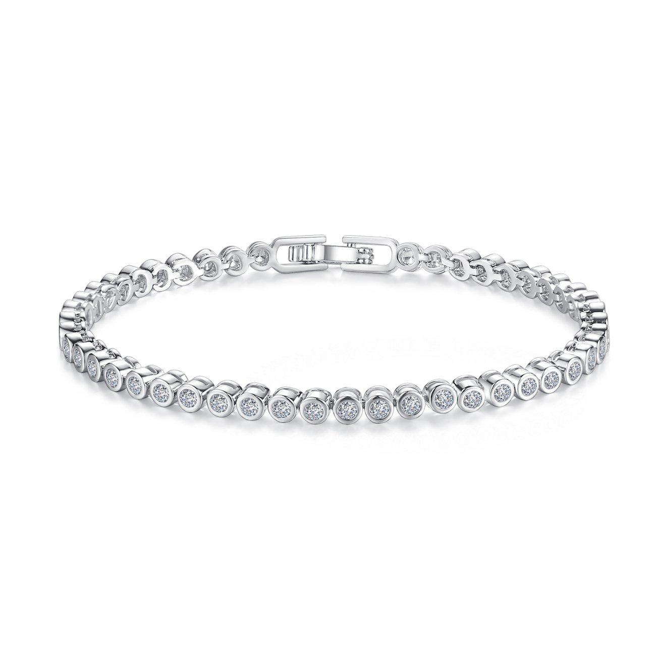 CZ Tennis Bracelets For Women - Never Hook Clothes Bracelets18K Rhodium Plated Round Cut Bezel Setting 6.7''& 7.5'', (7.5in)