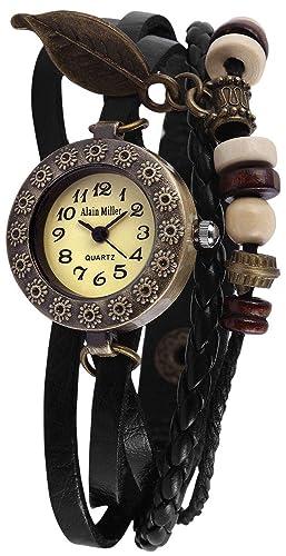Alain Miller Reloj Analógico para Mujer de Cuarzo con Correa en Cuero 1900134-002: Amazon.es: Relojes