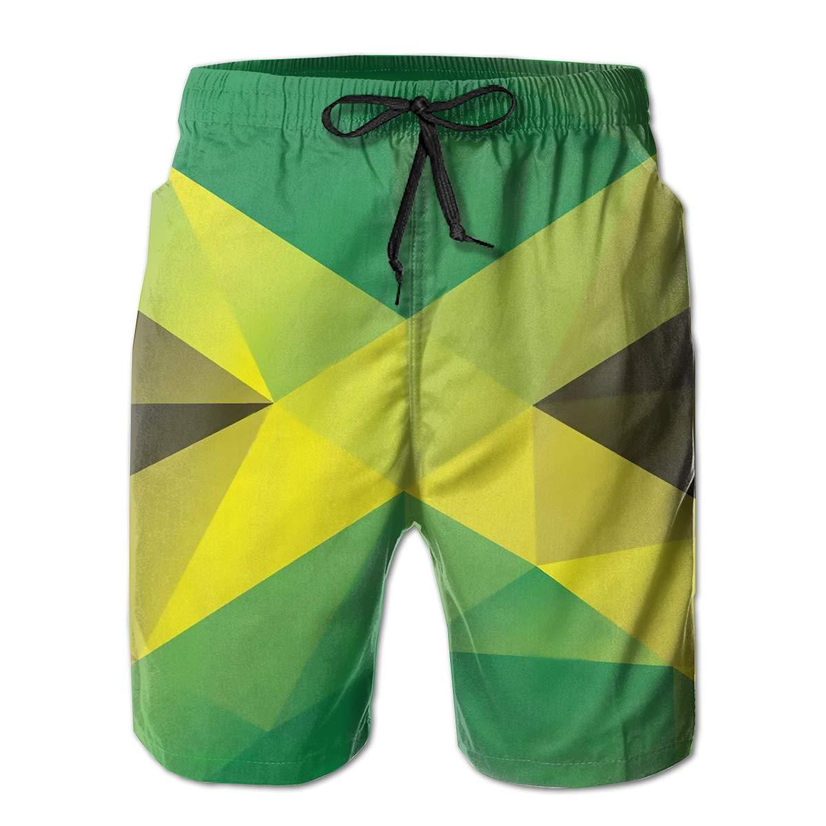 HHHDAM Jamaica Flag Triangular Mens Swim Trunks Board Beachwear Casual Beach Shorts for Men with Mesh Lining
